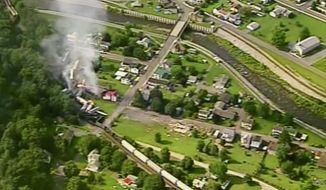 In this aerial image made from a video provided by WPXI, smoke rises into the air after dozens of cars of a freight train carrying hazardous materials derailed in Hyndman, Pa., Wednesday, Aug. 2, 2017. County officials ordered all residents of the small Pennsylvania town to evacuate after the derailment. (WPXI via AP)