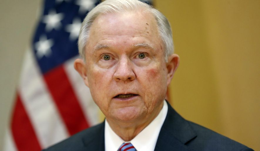 FILE - In this July 27, 2017, file photo, U.S. Attorney General Jeff Sessions speaks in San Salvador, El Salvador. New White House chief of staff John Kelly, in one of his first acts in his new post, called Sessions to reassure him that his position was safe despite the recent onslaught of criticism he has taken from President Donald Trump. (AP Photo/Pablo Martinez Monsivais, File)