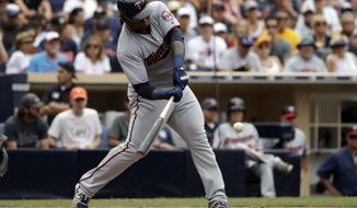 Minnesota Twins' Miguel Sano hits a home run during the sixth inning of a baseball game against the San Diego Padres Wednesday, Aug. 2, 2017, in San Diego. (AP Photo/Gregory Bull)