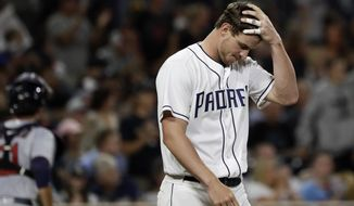 San Diego Padres' Wil Myers reacts after striking out to end the seventh inning during a baseball game against the Minnesota Twins Tuesday, Aug. 1, 2017, in San Diego. (AP Photo/Gregory Bull)