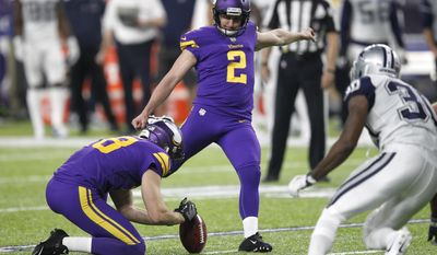 FILe - In this Dec. 1, 2016, file photo, Minnesota Vikings kicker Kai Forbath (2) kicks a 33-yard field goal during the second half of an NFL football game against the Dallas Cowboys, in Minneapolis. After the Vikings made a midseason switch from Blair Walsh last year, Kai Forbath came in and made all of his field goal tries. But he has not been given the job for 2017 yet. Marshall Koehn is trying to take it.(AP Photo/Andy Clayton-King, File)