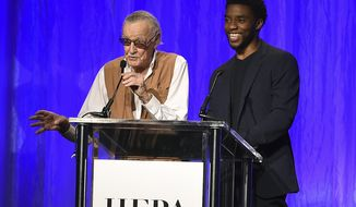 Stan Lee and Chadwick Boseman speak at the Hollywood Foreign Press Association Grants Banquet at the Beverly Wilshire Hotel on Wednesday, Aug. 2, 2017, in Beverly Hills, Calif. (Photo by Jordan Strauss/Invision/AP)