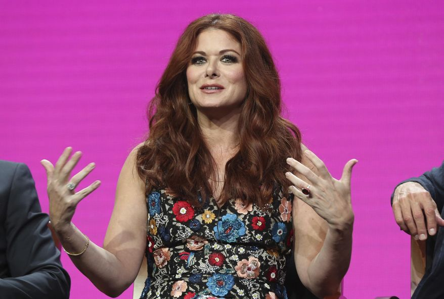 "Debra Messing participates in the ""Will & Grace"" panel during the NBC Television Critics Association Summer Press Tour at the Beverly Hilton on Thursday, Aug. 3, 2017, in Beverly Hills, Calif. (Photo by Willy Sanjuan/Invision/AP)"