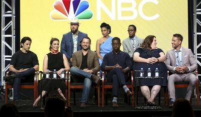 "Milo Ventimiglia, from left, Mandy Moore, Chris Sullivan, Dan Fogelman, susan Kelechi Watson, Sterling K. Brown, Ron Cephas Jones, Chrissy Metz and Justin Hartley participate in the ""This Is Us"" panel during the NBC Television Critics Association Summer Press Tour at The Beverly Hilton on Thursday, Aug. 3, 2017, in Beverly Hills, Calif. (Photo by Willy Sanjuan/Invision/AP)"