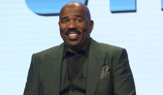 "Host/executive producer Steve Harvey participates in the ""Steve"" panel during the NBC Television Critics Association Summer Press Tour at the Beverly Hilton on Thursday, Aug. 3, 2017, in Beverly Hills, Calif. (Photo by Willy Sanjuan/Invision/AP)"