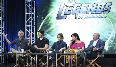 "Phil Klemmer, from left, Brandon Routh, Caity Lotz, Tala Ashe and Marc Guggenheim participates in the ""DC's Legends of Tomorrow"" panel during The CW portion of the 2017 Summer TCA's at the Beverly Hilton Hotel on Wednesday, Aug. 2, 2017, in Beverly Hills, Calif. (Photo by Richard Shotwell/Invision/AP)"