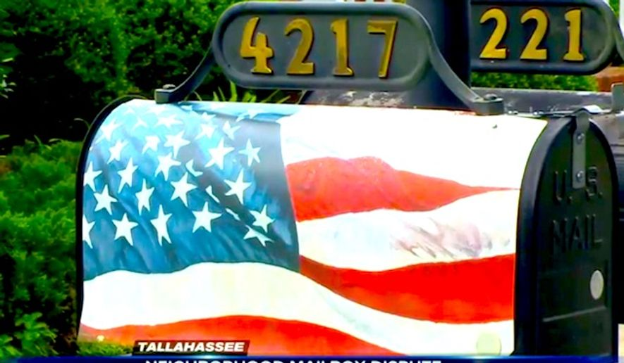 A homeowners association in Tallahassee, Florida, has ordered a Navy veteran to remove a mailbox with an American flag theme in his front yard. (Image: WCTV CBS Tallahassee screenshot)