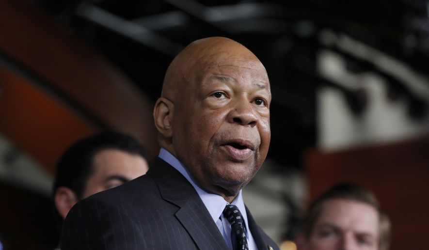 In this photo taken May 17, 2017, Rep. Elijah Cummings, D-Md., ranking member on the House Oversight and Government Reform Committee, speaks during a news conference on Capitol Hill in Washington. (AP Photo/Alex Brandon)