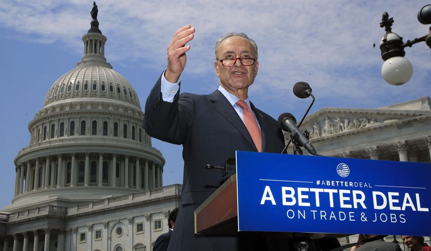 """Senate Minority Leader Chuck Schumer of N.Y. speaks on Capitol Hill in Washington, Wednesday, Aug. 2, 2017, to unveil """"A Better Deal On Trade and Jobs,"""" to put American workers first and fight back against companies that outsource jobs and countries that manipulate trade laws. (AP Photo/Manuel Balce Ceneta)"""
