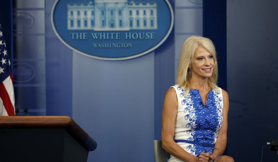 Counselor to the President Kellyanne Conway speaks during a television interview in the press room of the White House, Thursday, Aug. 3, 2017, in Washington. (AP Photo/Alex Brandon)