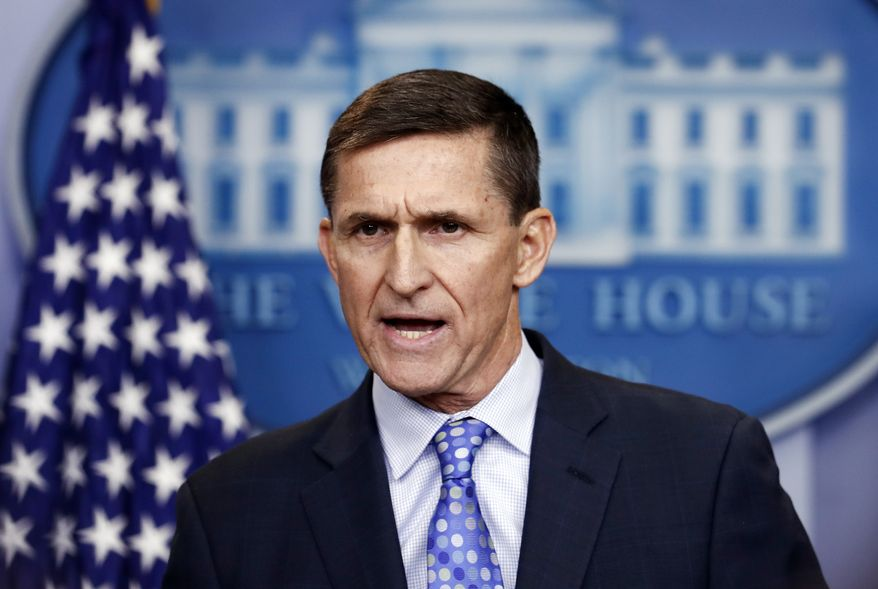 In this Feb. 1, 2017, file photo, then-National Security Adviser Michael Flynn speaks during the daily news briefing at the White House, in Washington. Flynn is detailing previously undisclosed paid speaking engagements, business positions and income from the presidential transition that he left off his public financial disclosure. (AP Photo/Carolyn Kaster, File)