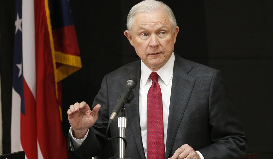 In this Aug. 2, 2017, file photo, Attorney General Jeff Sessions speaks in Columbus, Ohio. Sessions moved Thursday, Aug. 3, 2017, to again punish so-called sanctuary cities, this time threatening to deny federal crime-fighting resources to four cities beset by violence if they don't step up efforts to help detain and deport people living in the country illegally. (AP Photo/Jay LaPrete, File)