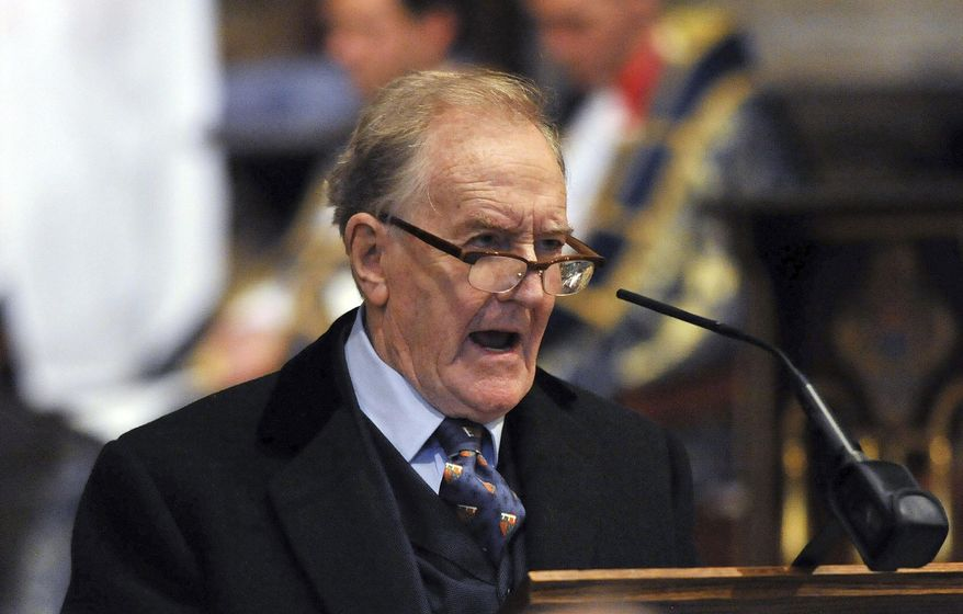 """An Oct. 29, 2015, file photo of Robert Hardy, star of """"All Creatures Great and Small"""" and the """"Harry Potter"""" films, speaking in London. The veteran British stage and screen actor who played Minister for Magic Cornelius Fudge in the """"Harry Potter"""" movies, has died at 91. His family says Hardy died Thursday, Aug. 3, 2017. Born in 1925, Hardy began his career in Shakespearean roles onstage in Stratford-upon-Avon in the years after World War II. (Nick Ansell/PA File via AP)"""