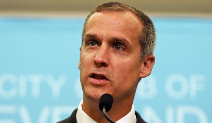 Corey Lewandowski, former campaign manager for President Donald Trump, speaks at the City Club of Cleveland on Aug. 3, 2017. (Associated Press)