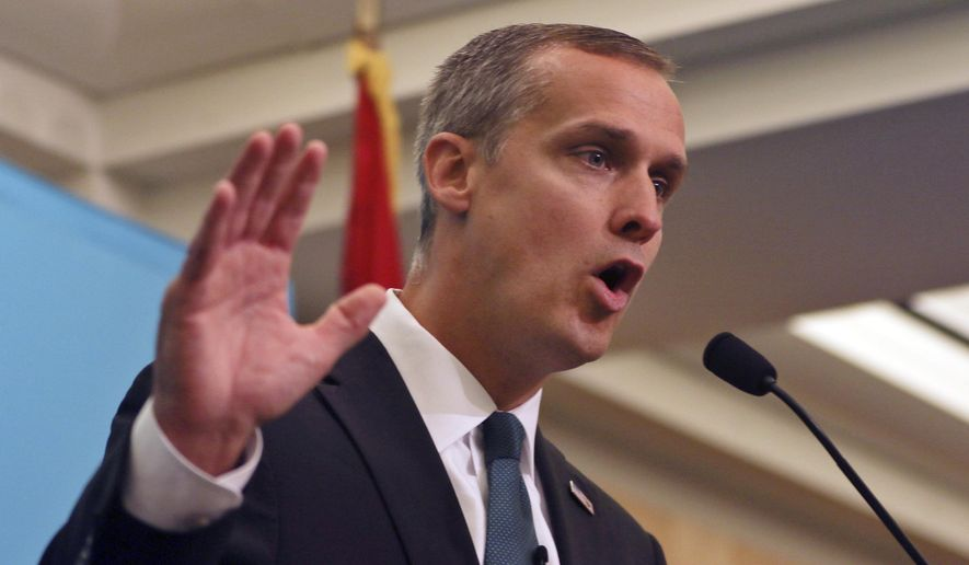 Corey Lewandowski, former campaign manager for President Donald Trump, speaks at the City Club of Cleveland, Thursday, Aug. 3, 2017, in Cleveland. (AP Photo/Dake Kang) ** FILE **