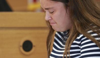 CORRECTS FROM CAMDEN TO CAMDYN - Conrad Roy's sister Camdyn gives her victim impact statement before Michelle Carter is sentenced Thursday, Aug. 3, 2017, in Taunton, Mass. Carter was convicted in June by a judge who said her final instruction to Conrad Roy III caused his death. She was sentenced Thursday to 15 months in jail for involuntary manslaughter. (Matt West/The Boston Herald via AP, Pool)