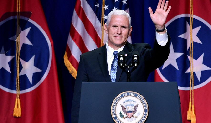 Vice President Mike Pence waves to the crowd during the Tennessee Republican Party's Statesmen's Dinner at Music City Center in Nashville, Tenn., Thursday, Aug. 3, 2017. (Andrew Nelles/The Tennessean via AP)