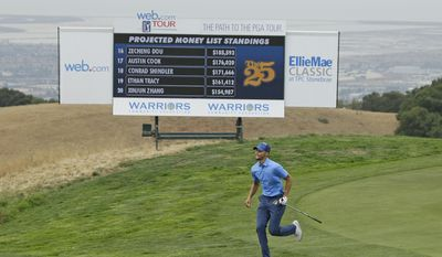 Golden State Warriors NBA basketball player Stephen Curry runs up to take a look at the 18th green before hitting his approach shot during the Web.com Tour's Ellie Mae Classic golf tournament Thursday, Aug. 3, 2017, in Hayward, Calif. (AP Photo/Eric Risberg)