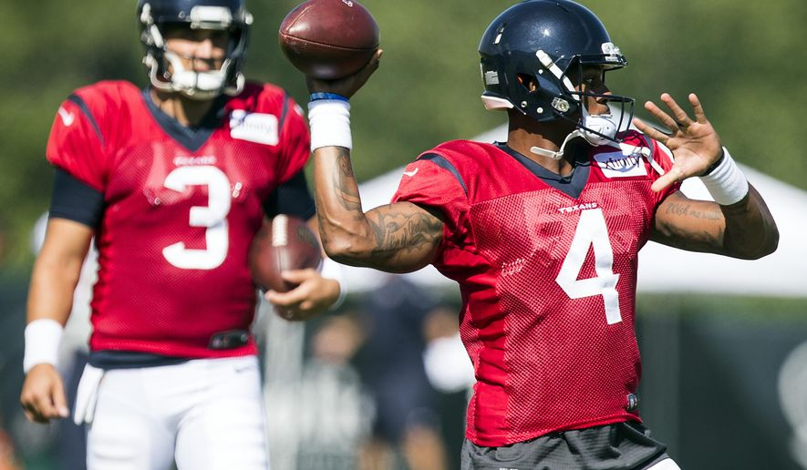 Houston Texans quarterback Deshaun Watson (4) throws a pass during training camp at the Greenbrier on Sunday, July 30, 2017, in White Sulphur Springs, W.Va. ( Brett Coomer/Houston Chronicle via AP)