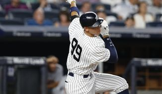 New York Yankees' Aaron Judge strikes out during the fifth inning of the team's baseball game against the Detroit Tigers at Yankee Stadium in New York, Tuesday, Aug. 1, 2017. (AP Photo/Kathy Willens)