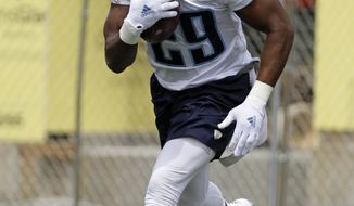 FILE - In this May 23, 2017, file photo, Tennessee Titans running back DeMarco Murray runs a drill during the team's organized team activity at its NFL football training facility, in Nashville, Tenn. DeMarco Murray is coming off a season where he led the AFC in rushing and earned a Pro Bowl nod. He also turns 30 in February, though he says the great running backs play well into their 30s. (AP Photo/Mark Humphrey, File)