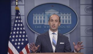 White House senior policy adviser Stephen Miller speaks during the daily briefing at the White House in Washington, Wednesday, Aug. 2, 2017. (AP Photo/Susan Walsh) ** FILE **