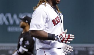Boston Red Sox's Hanley Ramirez reacts after legging out a ground ball for a hit during the second inning of the team's baseball game against the Chicago White Sox at Fenway Park, Thursday, Aug. 3, 2017, in Boston. (AP Photo/Charles Krupa)