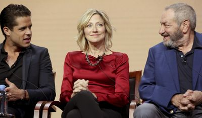 "Miles Gaston Villanueva, from left, Edie Falco and Dick Wolf participate in the ""Law & Order True Crime: The Menendez Murders"" panel during the NBC Television Critics Association Summer Press Tour at The Beverly Hilton hotel on Thursday, Aug. 3, 2017, in Beverly Hills, Calif. (Photo by Willy Sanjuan/Invision/AP)"