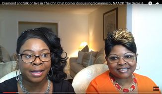 "Lynnette ""Diamond"" Hardaway and Rochelle ""Silk"" Richardson talk about current topics on YouTube. (Image: Screen grab from the Viewers View YouTube channel: https://www.youtube.com/watch?v=yW7H8oE3tVU)"