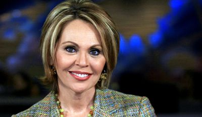 In this March 31, 2006, file photo, Maria Elena Salinas poses at the Univision studio in Miami. Salinas announced on Thursday, Aug. 3 2017, that she was leaving Univision after more than 35 years. (AP Photo/Luis M. Alvarez, File)