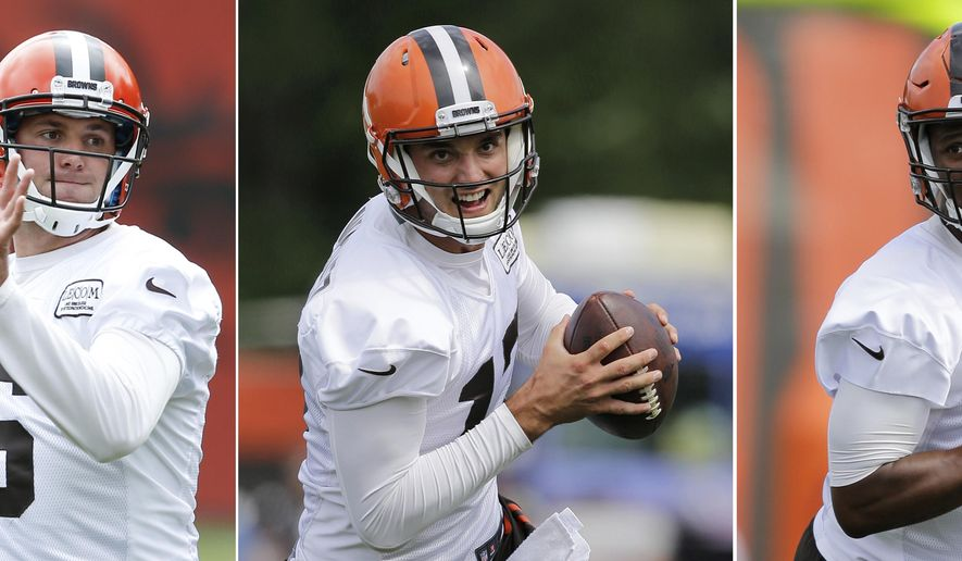 FILE - From left are 2017 file photos showing Cleveland Browns quarterbacks Cody Kessler, Brock Osweiler and DeShone Kizer during practice at the NFL football team's training camp in Berea, Ohio. The Browns' three-way quarterback competition moves onto a larger stage as the team conducts a scrimmage at FirstEnergy Stadium, Friday, Aug. 4, 2017. (AP Photo/Tony Dejak, File)