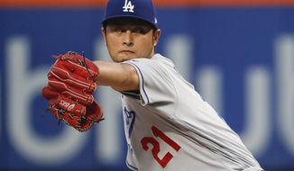 Los Angeles Dodgers starting pitcher Yu Darvish delivers against the New York Mets during the first inning of a baseball game, Friday, Aug. 4, 2017, in New York. (AP Photo/Julie Jacobson)
