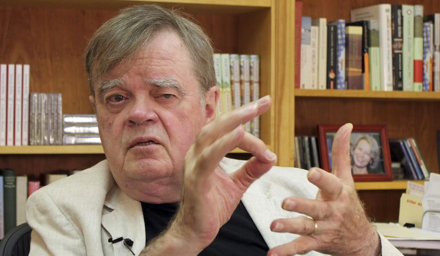 "In this July 26, 2017, photo, Garrison Keillor, creator and former host of, ""A Prairie Home Companion,"" talks at his St. Paul, Minn., office. Now that he has hung up his microphone as host of his popular public radio show, Keillor, who turns 75 this month, will embark on a 28-city ""Prairie Home Love & Comedy Tour 2017,"" which he vows will be his last. (AP Photo/Jeff Baenen)"