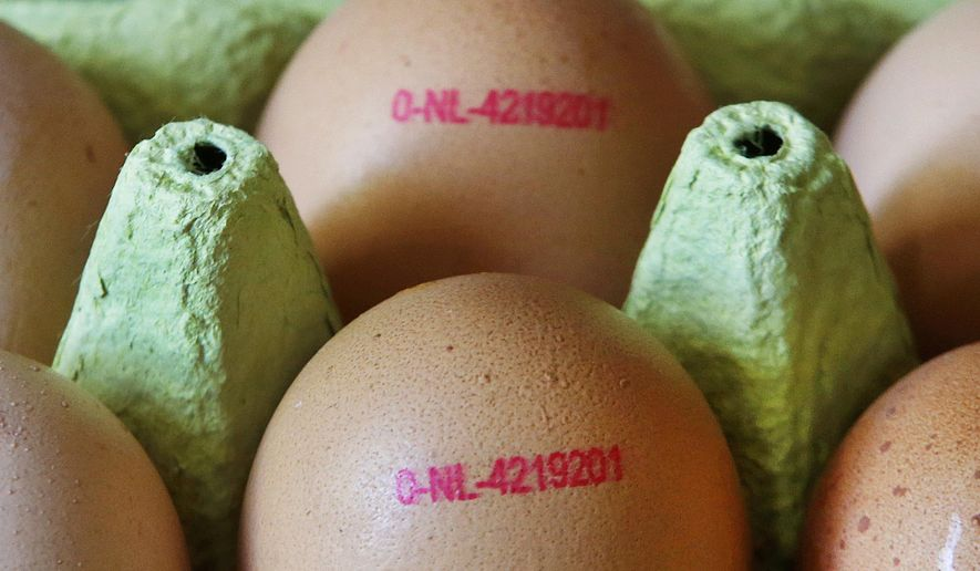 Eggs are photographed in a supermarket in Frankfurt, Germany, Friday, Aug. 4, 2017. A major supermarket chain is removing all eggs from sale in its German stores amid a scare over possible pesticide contamination. (AP Photo/Michael Probst)