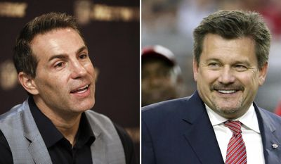 FILE - At left, in a Sept. 9, 2015, file photo, former NFL player and NFL Network's Kurt Warner is interviewed during a media availability on the set at NFL Network studios, in Culver City, California. At right, in an Oct. 2, 2016, file photo, Arizona Cardinals owner Michael Bidwell smiles during an NFL football game against the Los Angeles Rams, in Glendale, Ariz. Warner's family made it to Canton for his Hall of Fame weekend thanks to help from Arizona Cardinals President Michael Bidwill. Bidwill sent his private jet to pick up 13 members of Warner's family who were stranded at O'Hare Airport in Chicago. The quarterback, who will be inducted into the shrine on Saturday night, Aug. 5, 2017, tweeted a thank you to his former boss for getting his relatives to Canton for the festivities.(AP Photo/File)