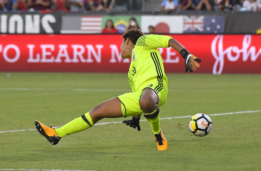 Japan goalkeeper Ayaka Yamashita gives up a goal to United States' Megan Rapinoe during the first half of Tournament of Nations soccer match, Thursday, Aug. 3, 2017, in Carson, Calif. (AP Photo/Mark J. Terrill)