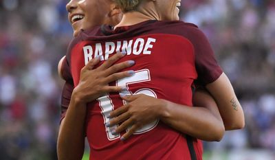 United States' Megan Rapinoe, front, celebrates her goal with Mallory Pugh during the first half against Japan in a Tournament of Nations soccer match, Thursday, Aug. 3, 2017, in Carson, Calif. (AP Photo/Mark J. Terrill)