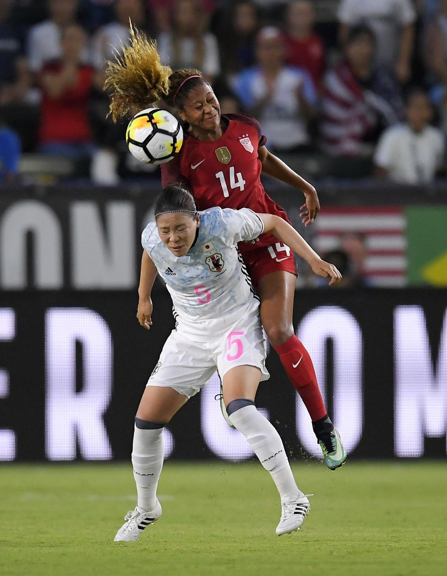 United States' Casey Short, top, and Japan's Madoka Haji try to head the ball during the first half of a Tournament of Nations soccer match, Thursday, Aug. 3, 2017, in Carson, Calif. (AP Photo/Mark J. Terrill)