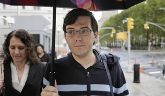 Martin Shkreli arrives at federal court in New York, Friday, Aug. 4, 2017. Jurors are starting their fifth day of deliberations at the federal securities fraud trial of the former pharmaceutical company CEO. (AP Photo/Seth Wenig)