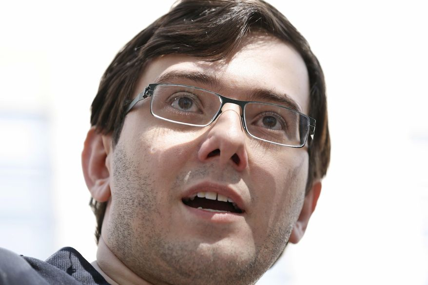 Martin Shkreli talks with reporters after leaving federal court in New York, Friday, Aug. 4, 2017. The former pharmaceutical CEO has been convicted on federal charges he deceived investors in a pair of failed hedge funds. A Brooklyn jury deliberated five days before finding Shkreli guilty on Friday on three of eight counts. (AP Photo/Seth Wenig)