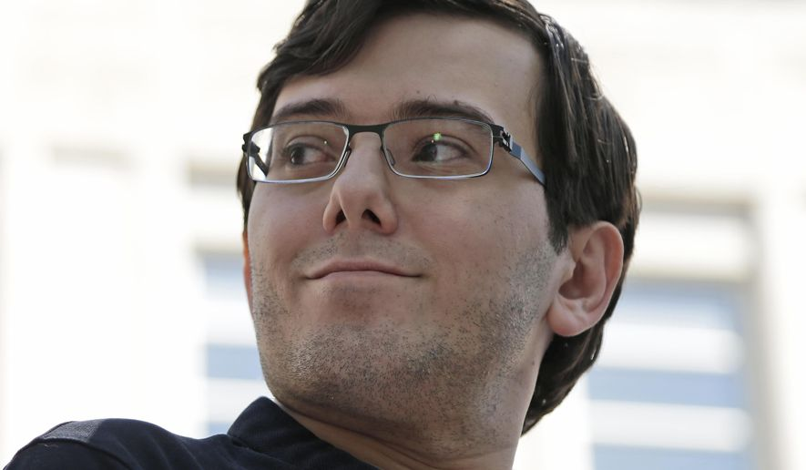 """Martin Shkreli talks with reporters after leaving federal court in New York, Friday, Aug. 4, 2017. Shkreli, the eccentric former pharmaceutical CEO notorious for a price-gouging scandal and for his snide """"Pharma Bro"""" persona on social media, was convicted Friday on federal charges he deceived investors in a pair of failed hedge funds.  (AP Photo/Seth Wenig)"""