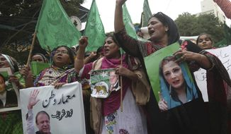 Supporters of Pakistani deposed Prime Minister Nawaz Sharif rally in favor of their leader in Karachi, Pakistan, Thursday, Aug. 3, 2017. The Supreme Court disqualified thrice-elected Sharif for concealing assets. (AP Photo/Shakil Adil)
