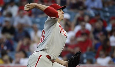 Philadelphia Phillies starting pitcher Jerad Eickhoff throws to the Los Angeles Angels during the first inning of a baseball game, Thursday, Aug. 3, 2017, in Anaheim, Calif. (AP Photo/Jae C. Hong)
