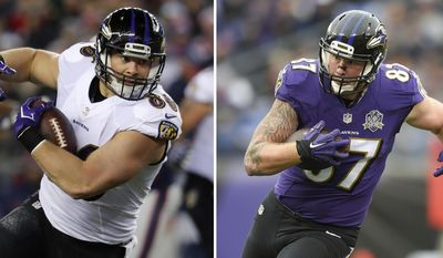 FILE - At left, in a Dec. 12, 2016, file photo, Baltimore Ravens tight end Nick Boyle runs against the New England Patriots during an NFL football game at Gillette Stadium in Foxborough, Mass. At right, in a Nov. 22, 2015, file photo, Baltimore Ravens tight end Maxx Williams (87) carries the ball during the first half of an NFL football game against the St. Louis Rams, in Baltimore. The Ravens' depleted tight end corps now has only three players competing for playing time: 14-year veteran Benjamin Watson and third-year pros Nick Boyle and Maxx Williams. (AP Photo/File)