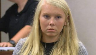 In this Friday, July 21, 2017 file photo, Brooke Skylar Richardson makes her first court appearance in Franklin Municipal Court in Franklin, Ohio. A prosecutor says Skylar whose newborn infant's remains were found buried outside her home in southwest Ohio has been indicted on charges of aggravated murder and other offenses.Warren County Prosecutor David Fornshell says a grand jury Friday, Aug. 4, 2017 also indicted Brooke Skylar Richardson on charges of involuntary manslaughter, child endangering, tampering with evidence and gross abuse of a corpse in the May death. (FOX19 NOW/Michael Buckingham via AP, File)