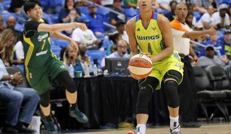 Dallas Wings guard Skylar Diggins-Smith (4) goes up for a three-point basket after making a steal against Seattle Storm's Ramu Tokashiki, left rear, of Japan, in the second half of a WNBA basketball game, Friday, Aug. 4, 2017, in Arlington, Texas. (AP Photo/Tony Gutierrez)
