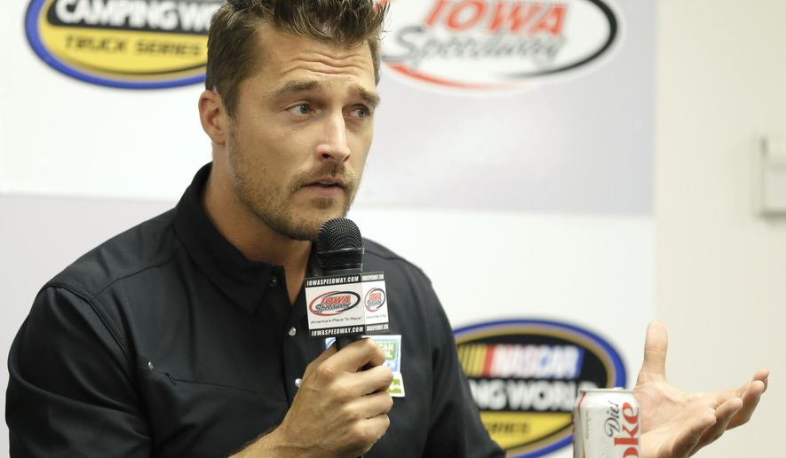 "FILE - In this June 19, 2015, file photo, Iowa farmer Chris Soules, a former star of ABC's ""The Bachelor,"" speaks during a news conference before a NASCAR event in Newton, Iowa. Court documents posted online Friday, Aug. 4, 2017, show that Soules is scheduled to go on trial Jan. 18, 2018, for leaving the scene of a fatal accident in April 2017. (AP Photo/Charlie Neibergall, File)"