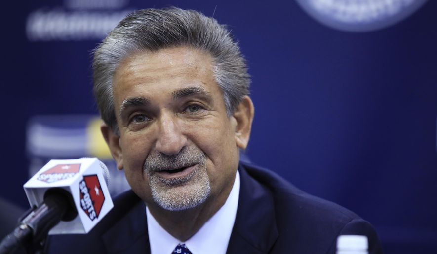 Washington Wizards majority owner Ted Leonsis speaks during a news conference to announce NBA basketball star John Wall's contract extension, Friday, Aug. 4, 2017, in Washington. (AP Photo/Manuel Balce Ceneta)