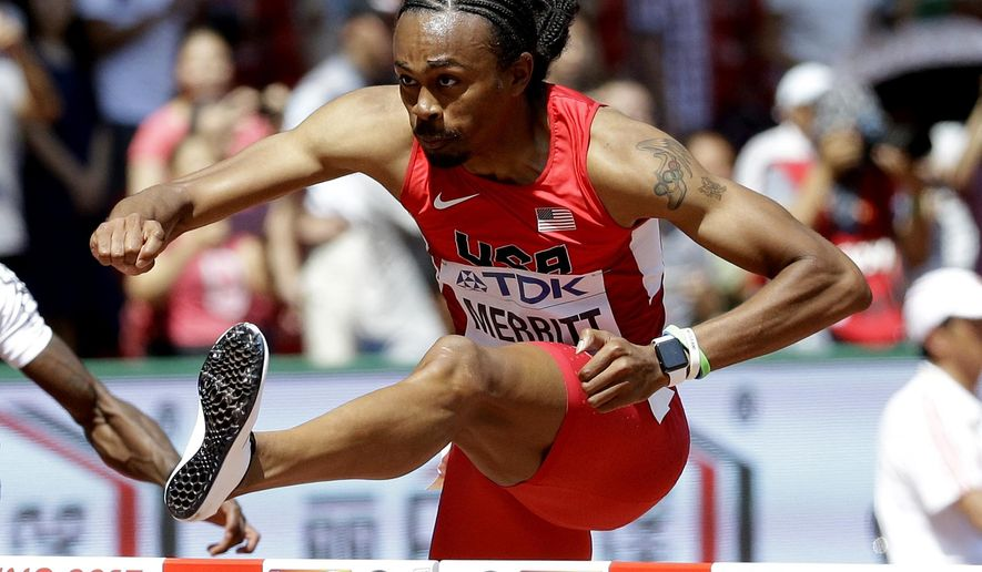 FILE - In this Wednesday, Aug. 26, 2015 file photo United States' Aries Merritt competes in a men's 110m hurdles round one heat at the World Athletics Championships at the Bird's Nest stadium in Beijing. Merritt is back at the world championships two years after winning a bronze medal with a failing kidney. He received a new kidney thanks to a transplant from his sister and feels almost as good as in 2012 when he won Olympic gold in London and set the 110-meter hurdles world record. (AP Photo/Lee Jin-man, File)