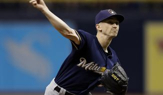 Milwaukee Brewers' Zach Davies pitches to the Tampa Bay Rays during the first inning of a baseball game Saturday, Aug. 5, 2017, in St. Petersburg, Fla. (AP Photo/Chris O'Meara)